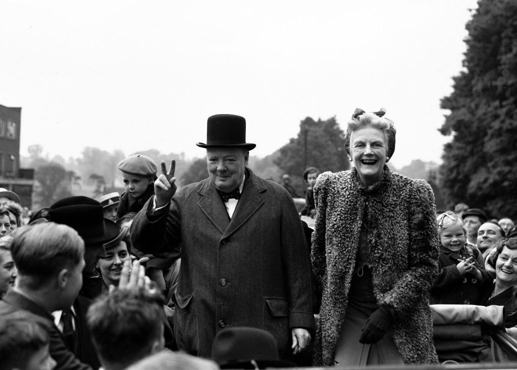 FILE - In this May 26, 1945 file photo, Britain's Prime Minister Winston Churchill and his wife Clementine tour Churchill's constituency of Woodford, ...