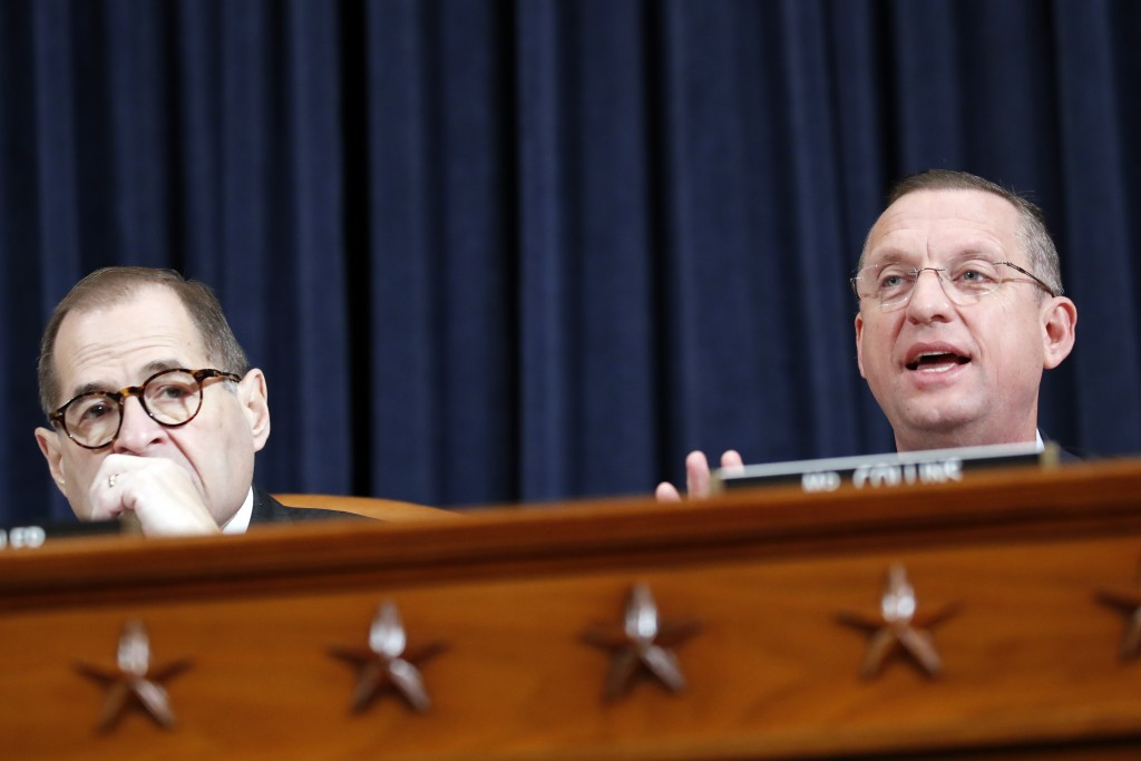 House Judiciary Committee Chairman Rep. Jerrold Nadler, D-N.Y., left, listens as ranking member Rep. Doug Collins, R-Ga., gives an opening statement a...