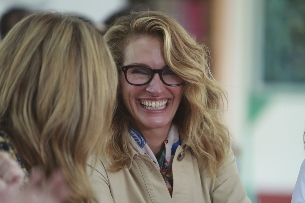 Actress Julia Roberts shares a laugh with Jenna Bush Hager as they meet with female students at Can Giuoc high school in Long An province, Vietnam Mon...