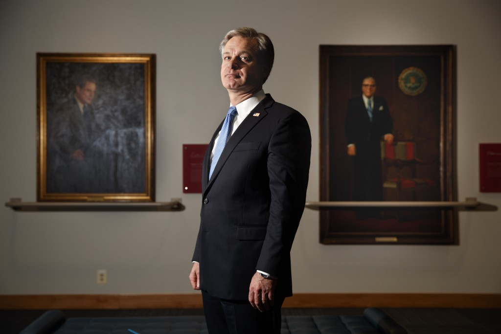 FBI Director Christopher Wray poses for a photo after an interview with The Associated Press, Monday, Dec. 9, 2019, in Washington. Wray says the probl...