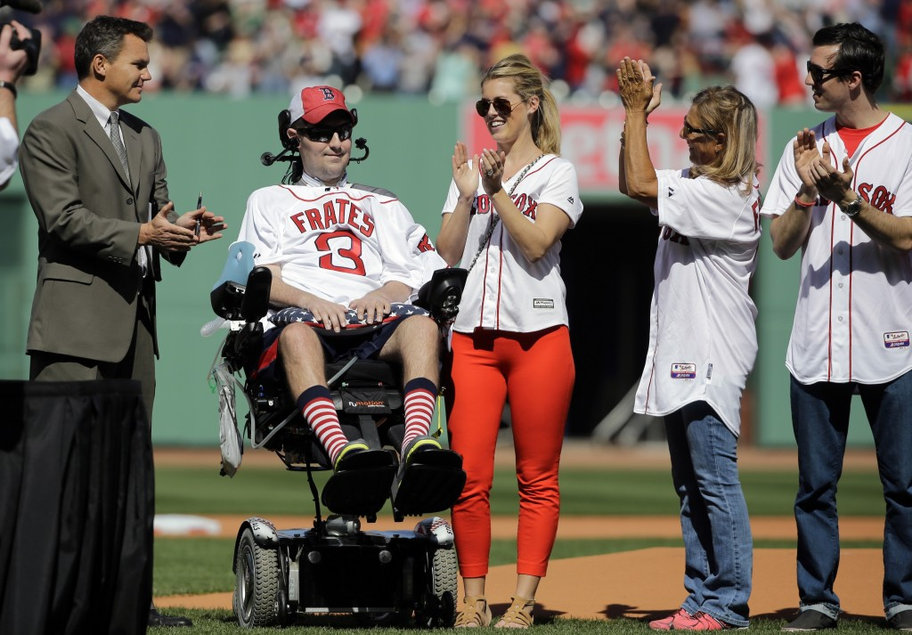 FILE - In this April 13, 2015, file photo, Pete Frates, former Boston College baseball player whose Ice Bucket Challenge raised millions for ALS resea...