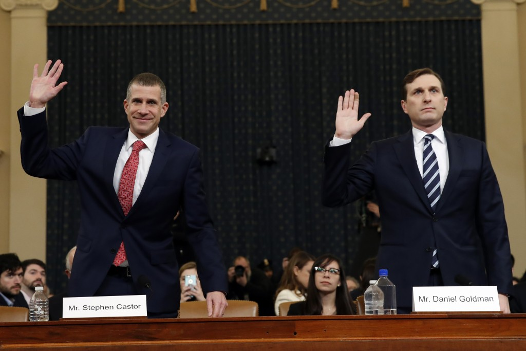 Republican staff attorney Steve Castor, left, and Democratic staff attorney Daniel Goldman and are sworn in to testify as the House Judiciary Committe...