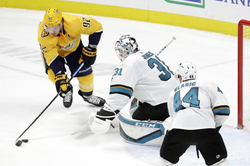 Nashville Predators center Ryan Johansen (92) scores a goal against San Jose Sharks goaltender Martin Jones (31) in the third period of an NHL hockey ...