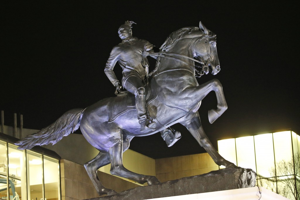 The statue titled Rumor's of War by artist Kehinde Wiley gets fully unveiled after the tarp covering the statue got stuck for a while at the Virginia ...
