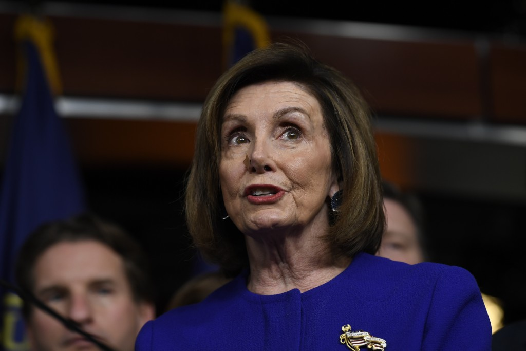 House Speaker Nancy Pelosi of Calif., speaks at a news conference on Capitol Hill in Washington, Tuesday, Dec. 10, 2019, on Capitol Hill in Washington...