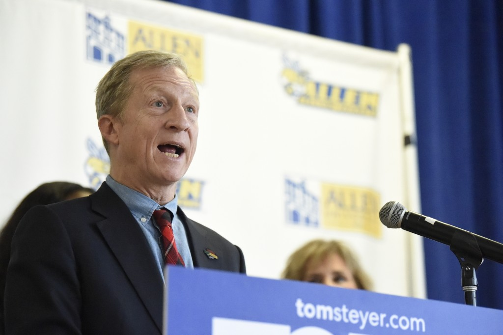 Democratic presidential candidate Tom Steyer speaks during a news conference introducing his campaign plan for historically black colleges and univers...