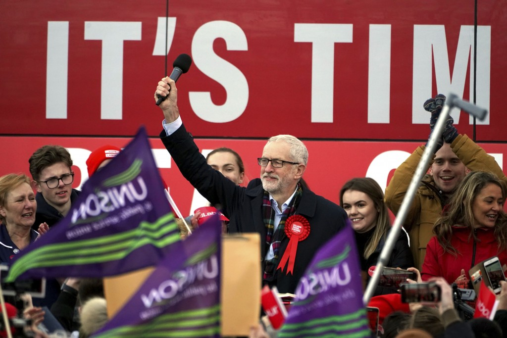 Labour Party leader Jeremy Corbyn speaks at a rally in Stainton Village, on the last day of General Election campaigning, in Middlesbrough, England, W...