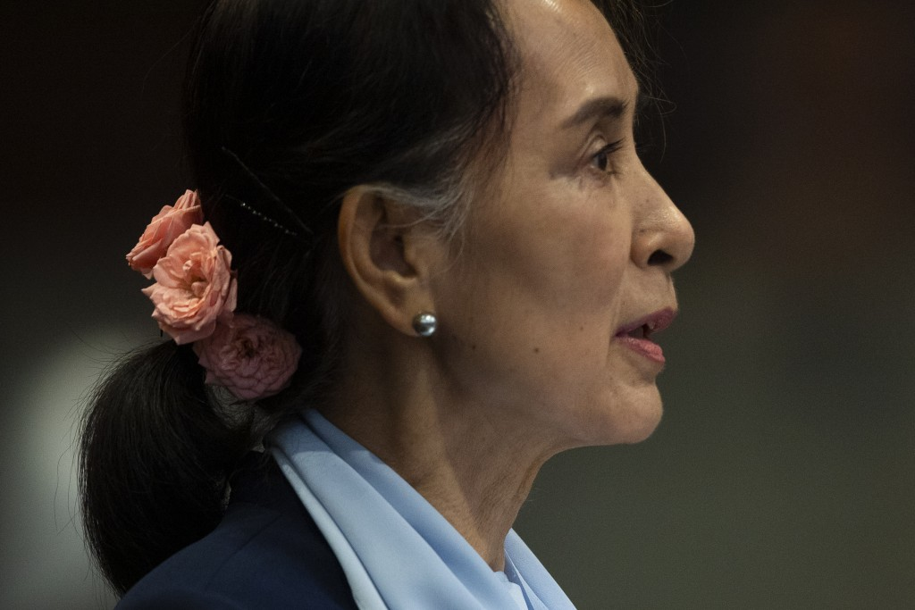 Myanmar's leader Aung San Suu Kyi addresses judges of the International Court of Justice for the second day of three days of hearings in The Hague, Ne...
