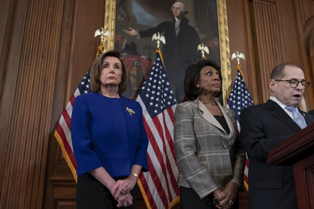 From left, Speaker of the House Nancy Pelosi, D-Calif., House Financial Services Committee Chairwoman Maxine Waters, D-Calif., and House Judiciary Com...