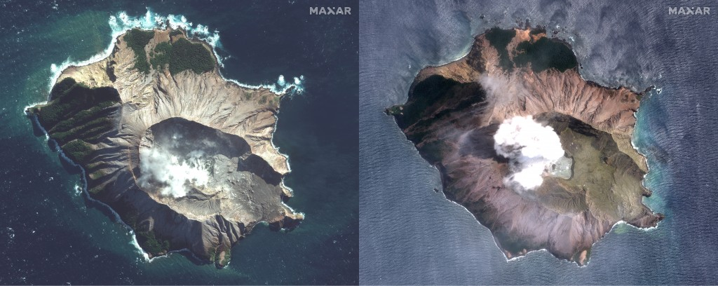 In this combo made from two satellite images taken May 12, 2019, left, and Dec. 11, 2019, right, by Maxar Technologies steam rises from the volcano on...