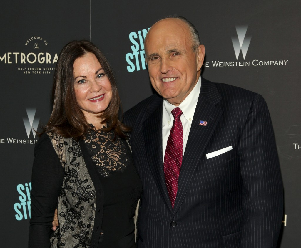 """FILE - In this Tuesday, April 12, 2016, file photo, Judith Giuliani, left, and former New York mayor Rudy Giuliani, right, attend the premiere of """"Sin..."""
