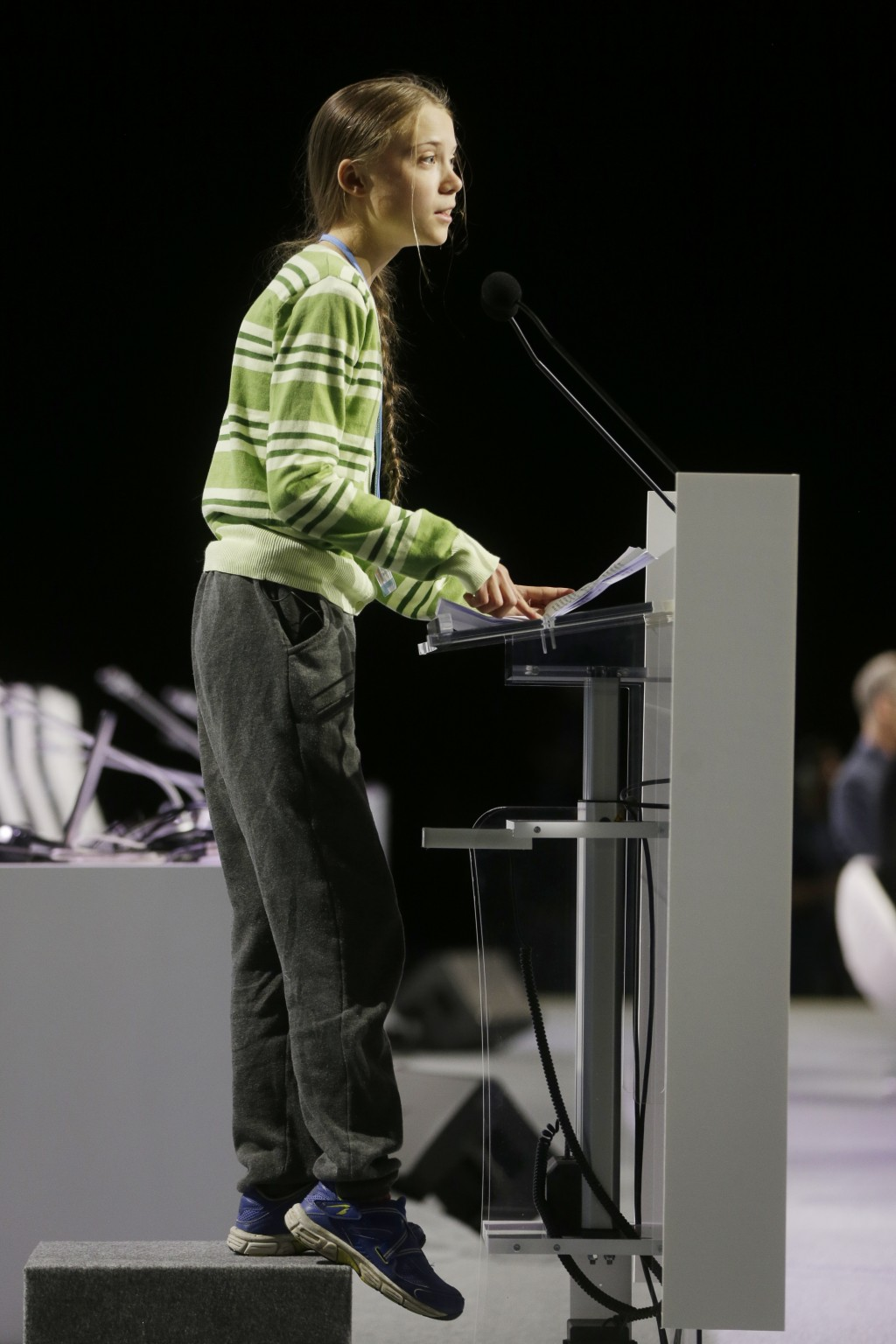 Swedish climate activist Greta Thunberg addresses plenary of U.N. climate conference during with a meeting with leading climate scientists at the COP2...