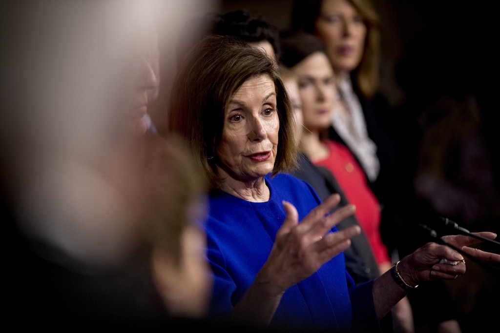 House Speaker Nancy Pelosi of Calif., speaks at a news conference to discuss the United States Mexico Canada Agreement (USMCA) trade agreement, Tuesda...