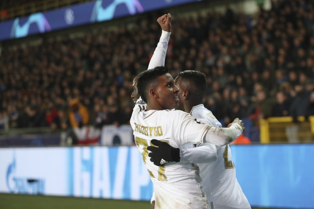 Real Madrid's Rodrygo jubilates after his side won the Champions League group A soccer match between Brugge and Real Madrid at the Jan Breydel stadium...