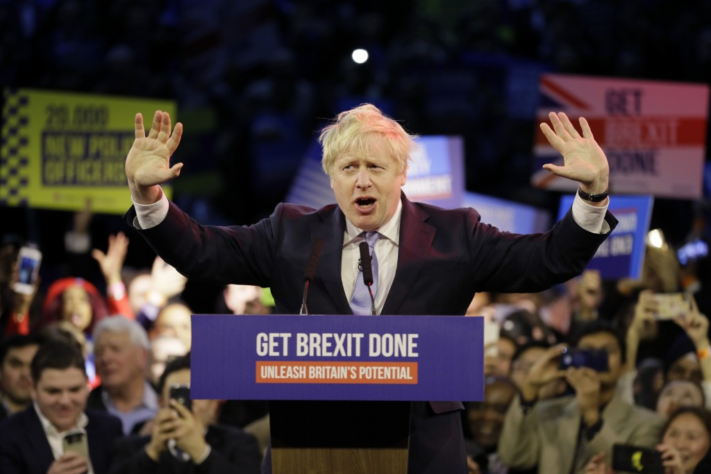 Britain's Prime Minister Boris Johnson speaks during his ruling Conservative Party's final election campaign rally at the Copper Box Arena in London, ...