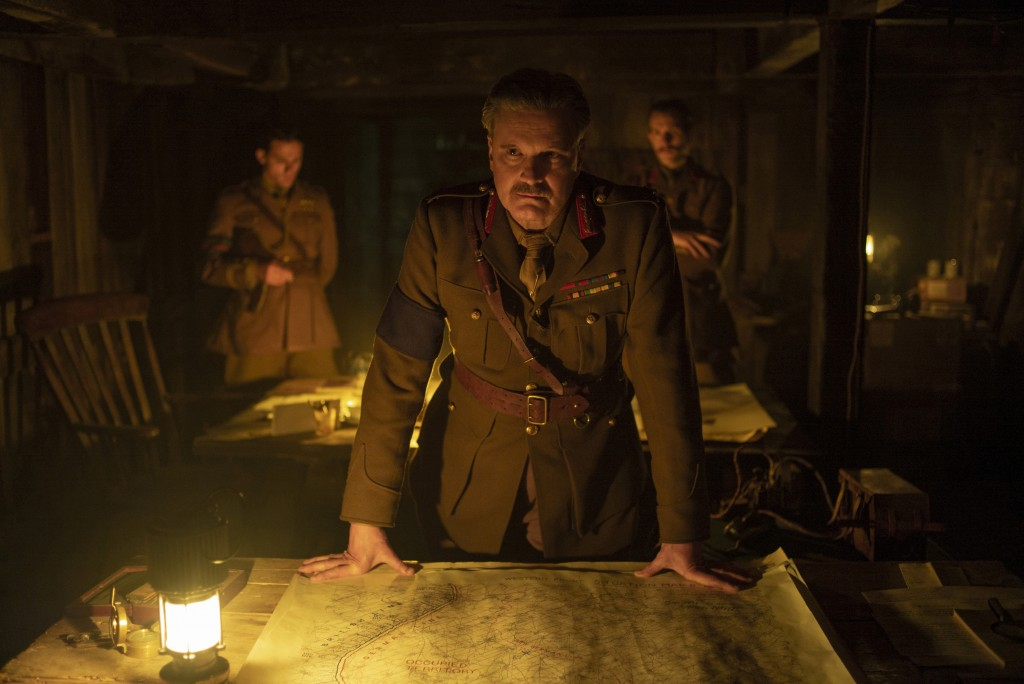"This image released by Universal Pictures shows Colin Firth as General Erinmore in a scene from ""1917,"" directed by Sam Mendes. (François Duhamel/Univ..."
