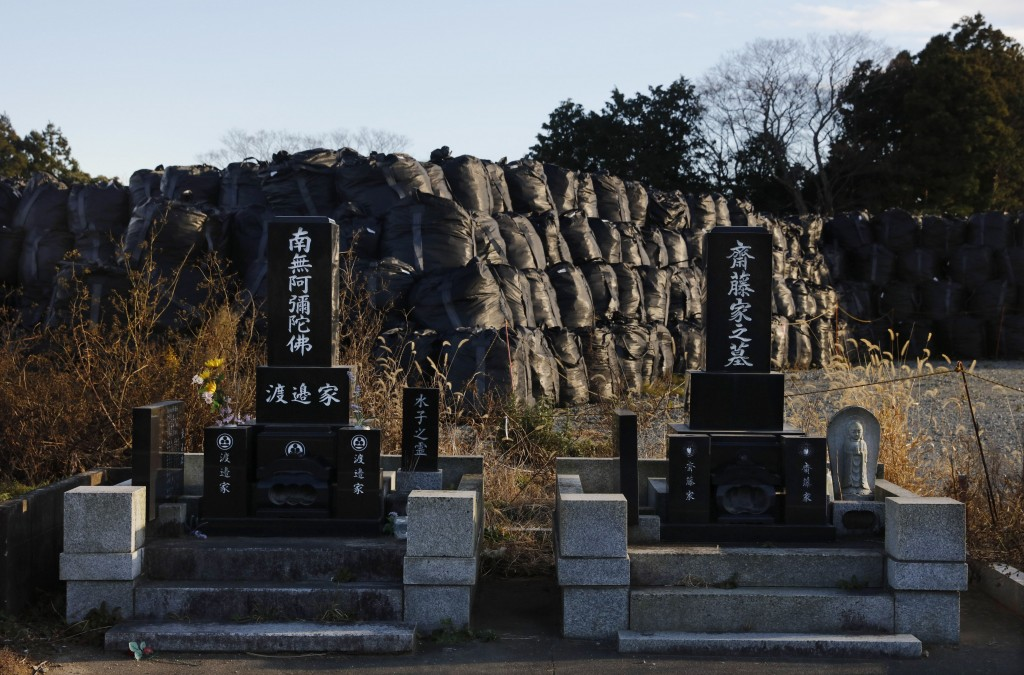 Large black plastic bags containing radioactive waste are stacked behind a family cemetery Tuesday, Dec. 3, 2019, in the abandoned town of Futaba, Fuk...