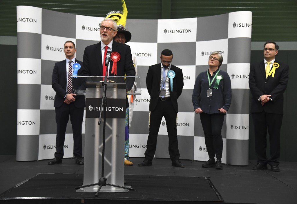 British opposition Labour Party leader Jeremy Corbyn speaks during the declaration of his seat in the 2019 general election in Islington, London, Frid...