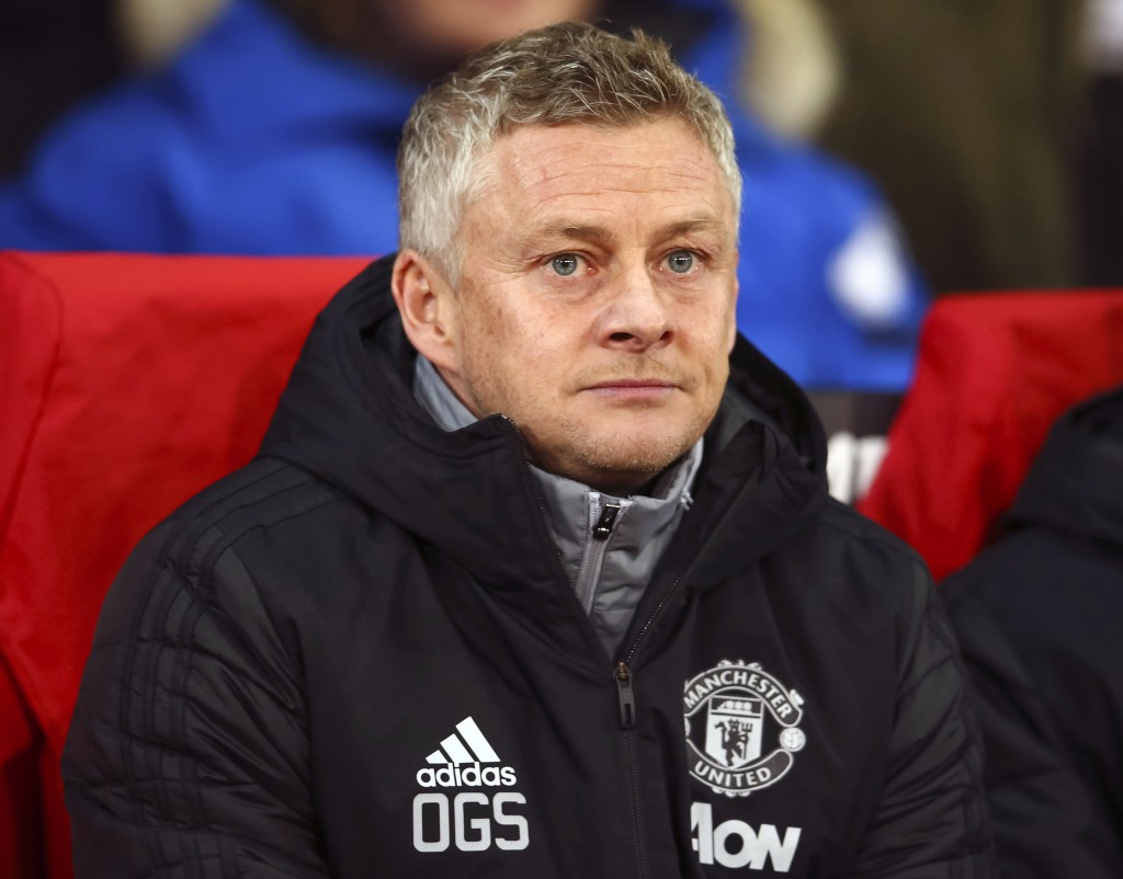 Manchester United manager Ole Gunnar Solskjaer looks on during the Europa League group L soccer match between Manchester United and AZ Alkmaar at Old ...