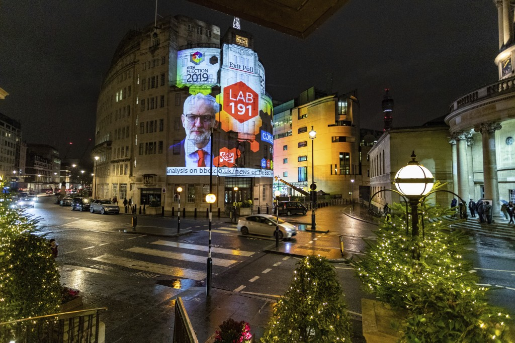 The results of an exit poll are projected onto the outside of Broadcasting House in London, just after voting closed for the 2019 General Election, Th...