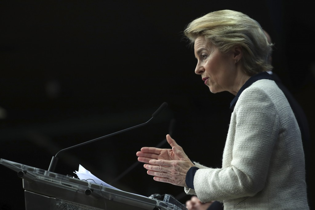 European Commission President Ursula von der Leyen speaks during a media conference at the conclusion of an EU summit in Brussels, Friday, Dec. 13, 20...