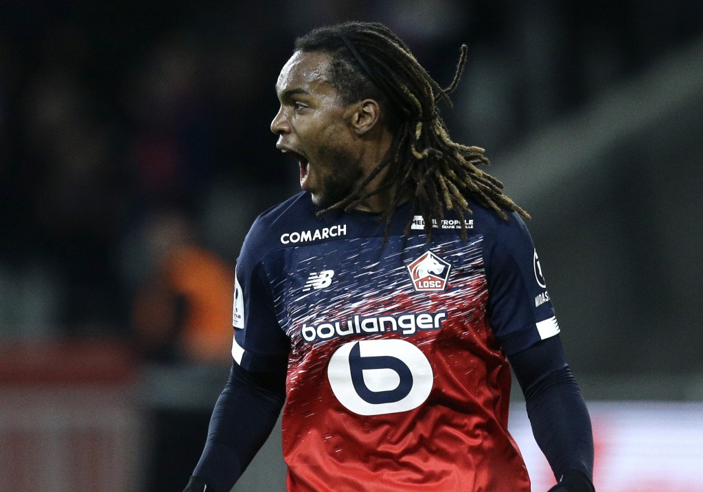 Lille's Renato Sanches reacts after scoring a penalty during the French League One soccer match between Lille and Montpellier at the Lille Metropole s...