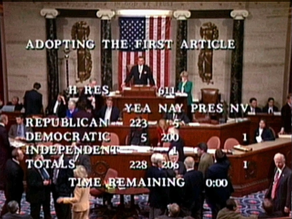 FILE - In this Dec. 19, 1998, file image from video, Speaker Pro Tempore Rep. Ray LaHood, R-Ill., prepares to announce the House vote of 228-206 to ap...