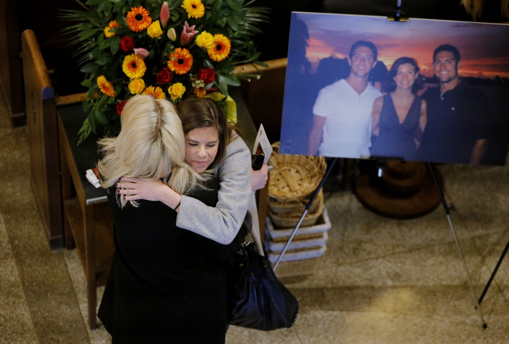Friends and family arrive for a funeral mass for Pete Frates at St. Ignatius Church in Chestnut Hill, Mass. on Friday, Dec. 13, 2019. Frates, a former...