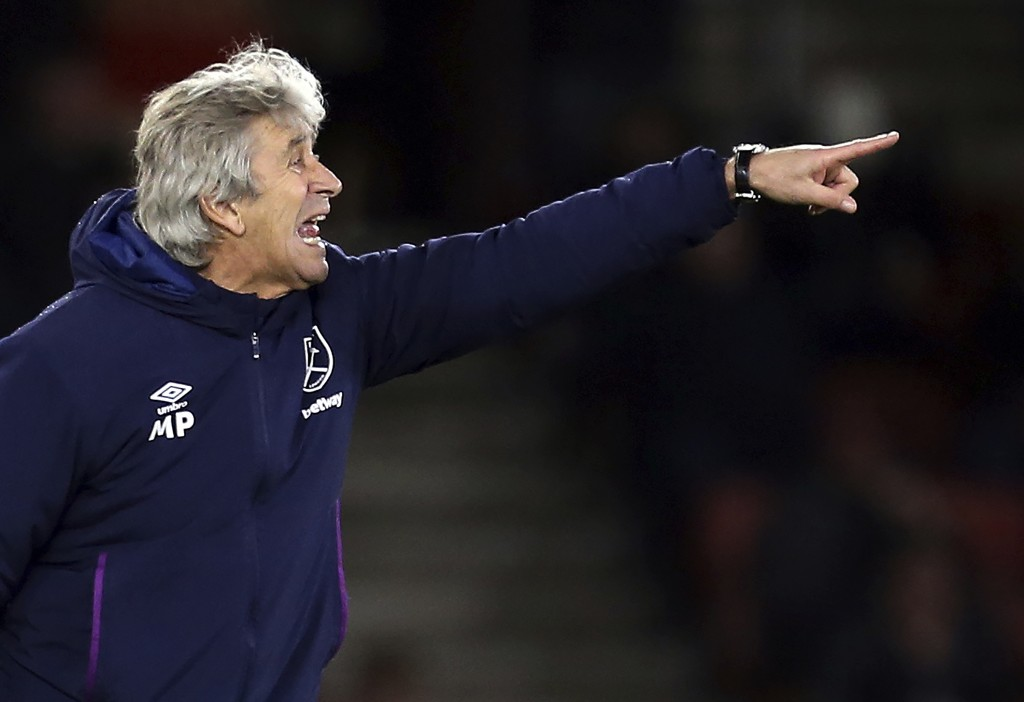 West Ham United manager Manuel Pellegrini gestures on the touchline during the game against Southampton, during their English Premier League soccer ma...