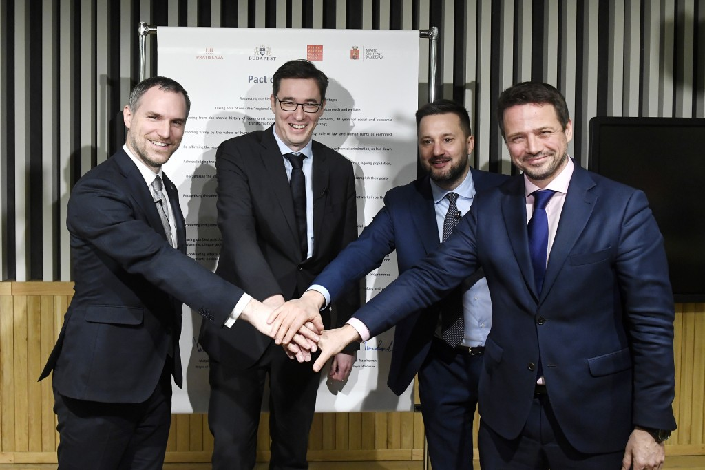 The mayors of the capitals of the Visegrad Four or V4 countries Czech Republic, Hungary, Poland and Slovakia, from left, Zdenek Hrib of Prague, Gergel...