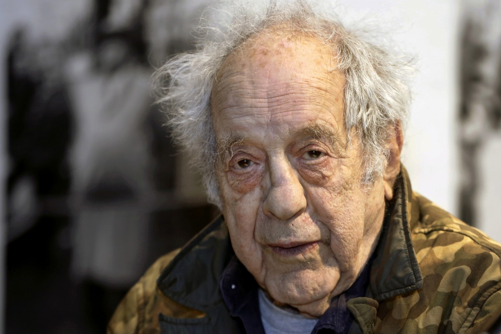 """FILE - In this Jan. 28, 2016, file photo, photographer and filmmaker Robert Frank appears at the opening of the exhibition featuring his work, """"Robert..."""