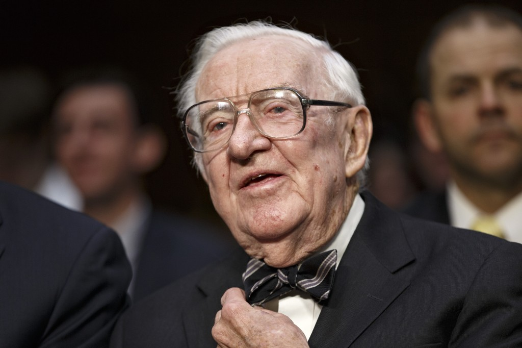 FILE - In this April 30, 2014, file photo, retired Supreme Court Justice John Paul Stevens prepares to testify on the ever-increasing amount of money ...