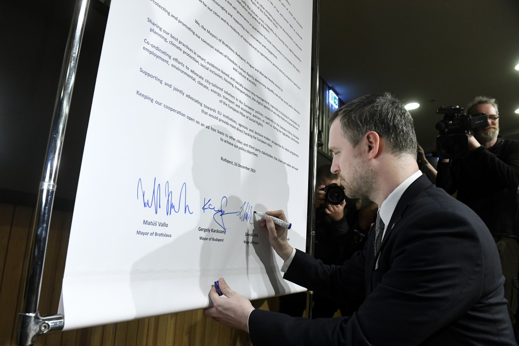 Mayor of Prague Zdenek Hrib signs the Pact of Free Cities during a meeting of the mayors of the capitals of the Visegrad Four or V4 countries Czech Re...