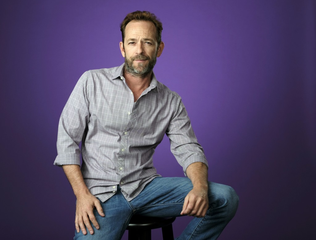 FILE - In this Aug. 6, 2018, file photo, Luke Perry poses for a portrait during the 2018 Television Critics Association Summer Press Tour in Beverly H...