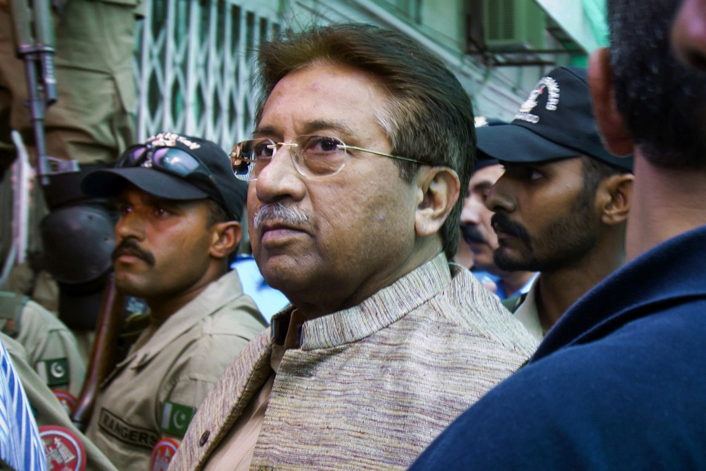FILE - In this April 20, 2013, file photo, Pakistan's former President and military ruler Pervez Musharraf arrives at an anti-terrorism court in Islam...