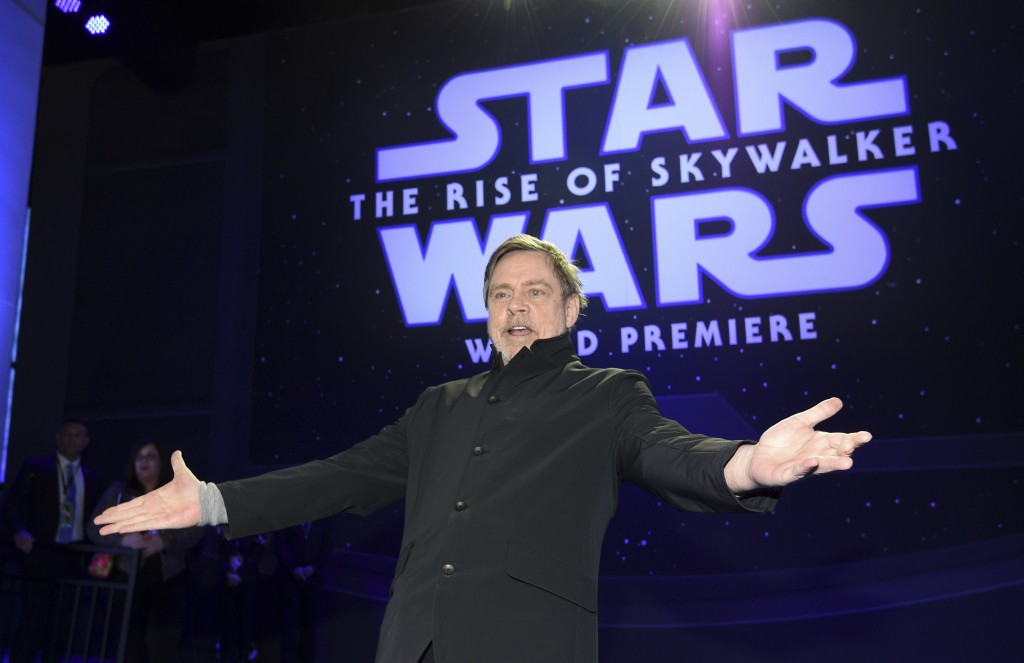 """Mark Hamill arrives at the world premiere of """"Star Wars: The Rise of Skywalker"""" on Monday, Dec. 16, 2019, in Los Angeles (AP Photo/Chris Pizzello)"""