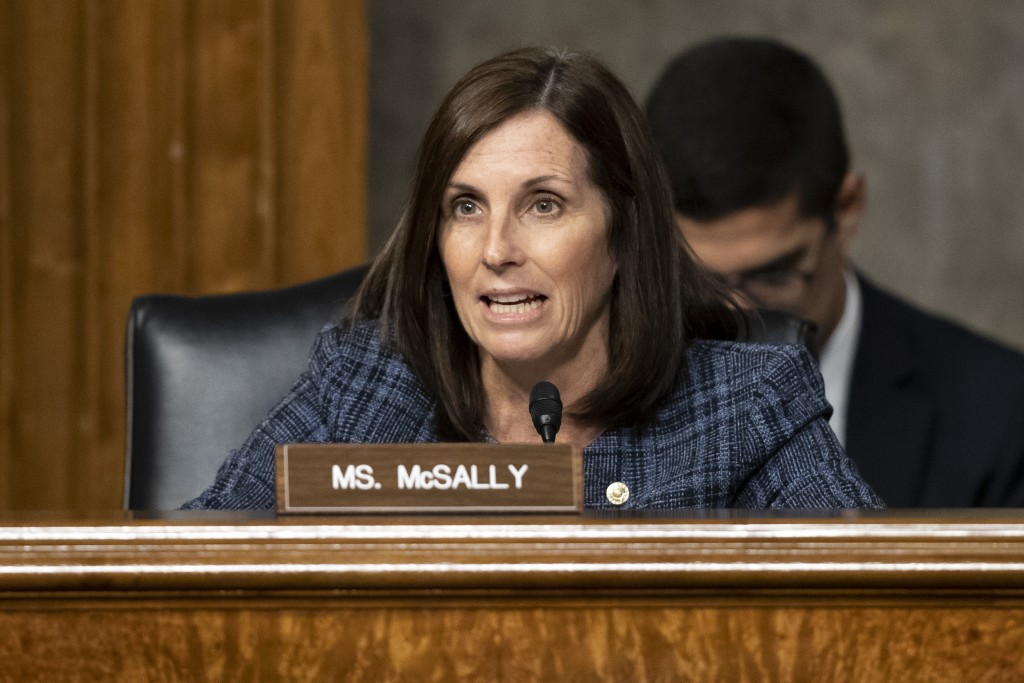 FILE - In this Tuesday, Dec. 3, 2019 file photo Sen. Martha McSally, R-Ariz., speaks during a hearing of the Senate Armed Services Committee in Washin...