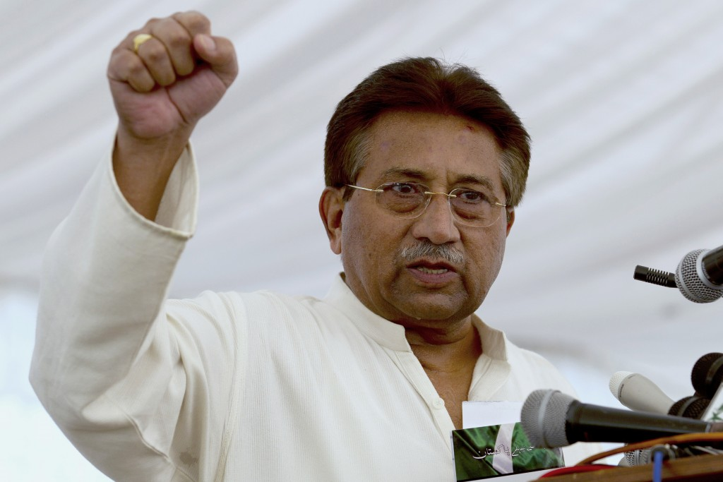 FILE - In this April 15, 2013, file photo, Pakistan's former President and military ruler Pervez Musharraf addresses his party supporters at his house...