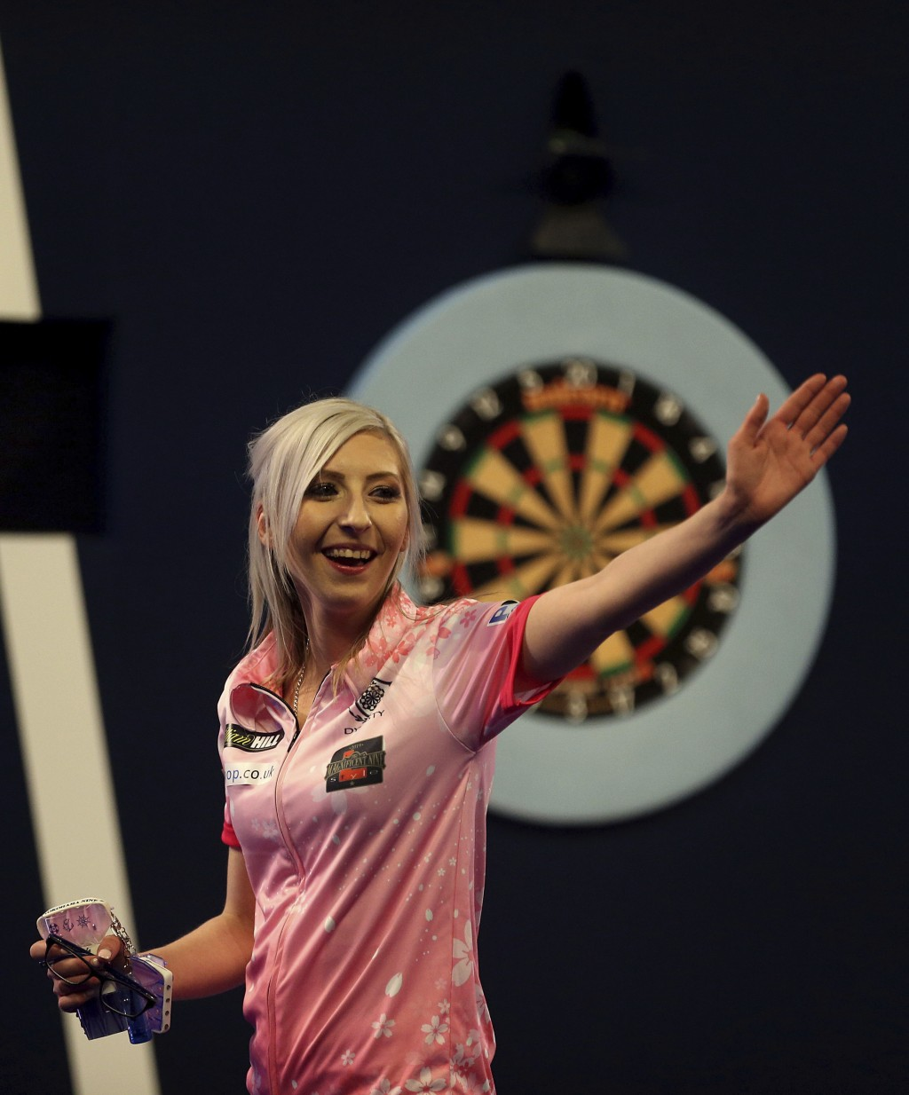 Fallon Sherrock celebrating after becoming the first women to win a game in the PDC Darts World Championship at Alexandra Palace, London, Tuesday Dec....