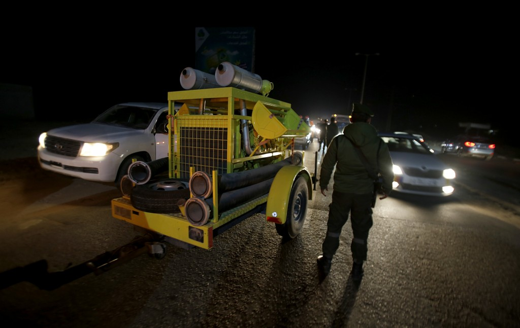 Rescue vehicles, part of a convoy of around 20, arrives in Gaza City, Tuesday, Dec. 17, 2019. Palestinian officials say Israel has allowed the import ...