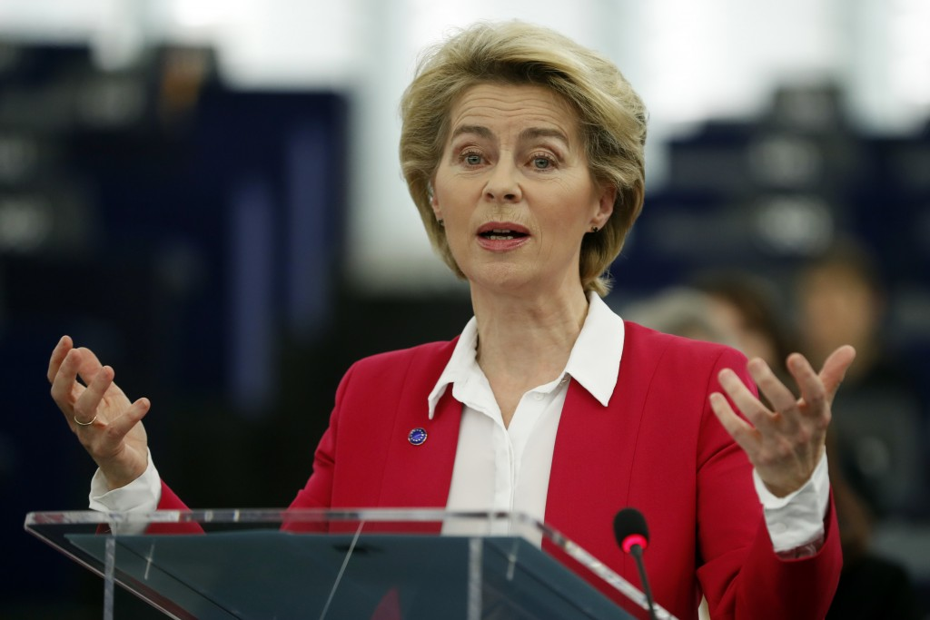 European Commission President Ursula von der Leyen right, speaks during the Commemoration of the 10th anniversary of the Lisbon Treaty and the legally...