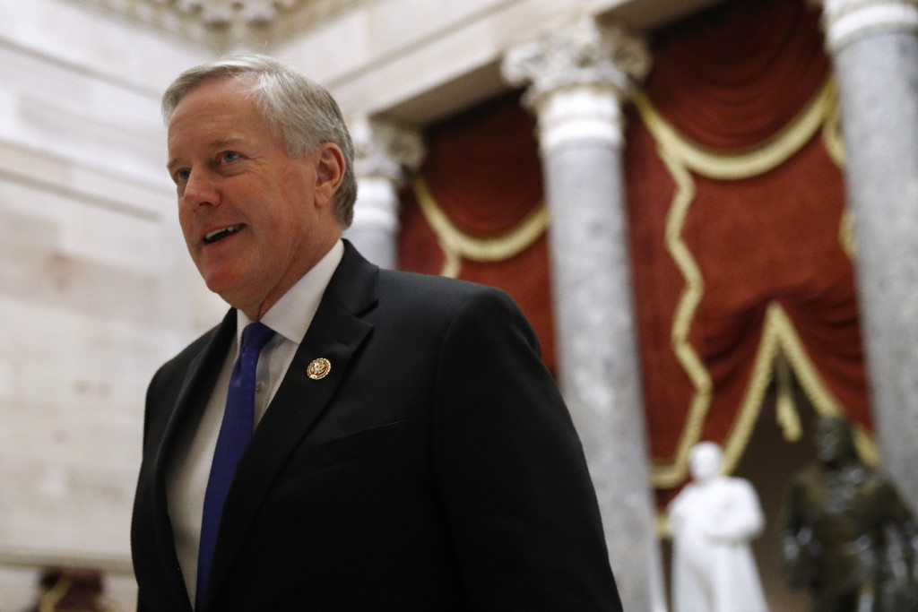 Rep. Mark Meadows, R-N.C., walks on Capitol Hill in Washington, Wednesday, Dec. 18, 2019. President Donald Trump is on the cusp of being impeached by ...