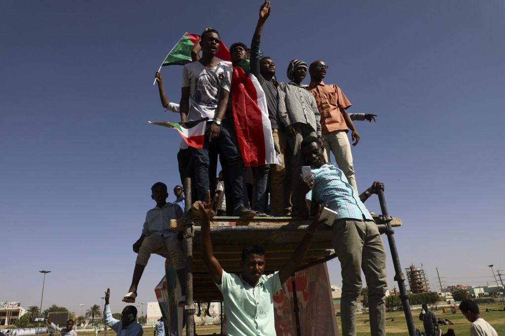 People gather as they celebrate first anniversary of mass protests that led to the ouster of former president and longtime autocrat Omar al-Bashir. in...
