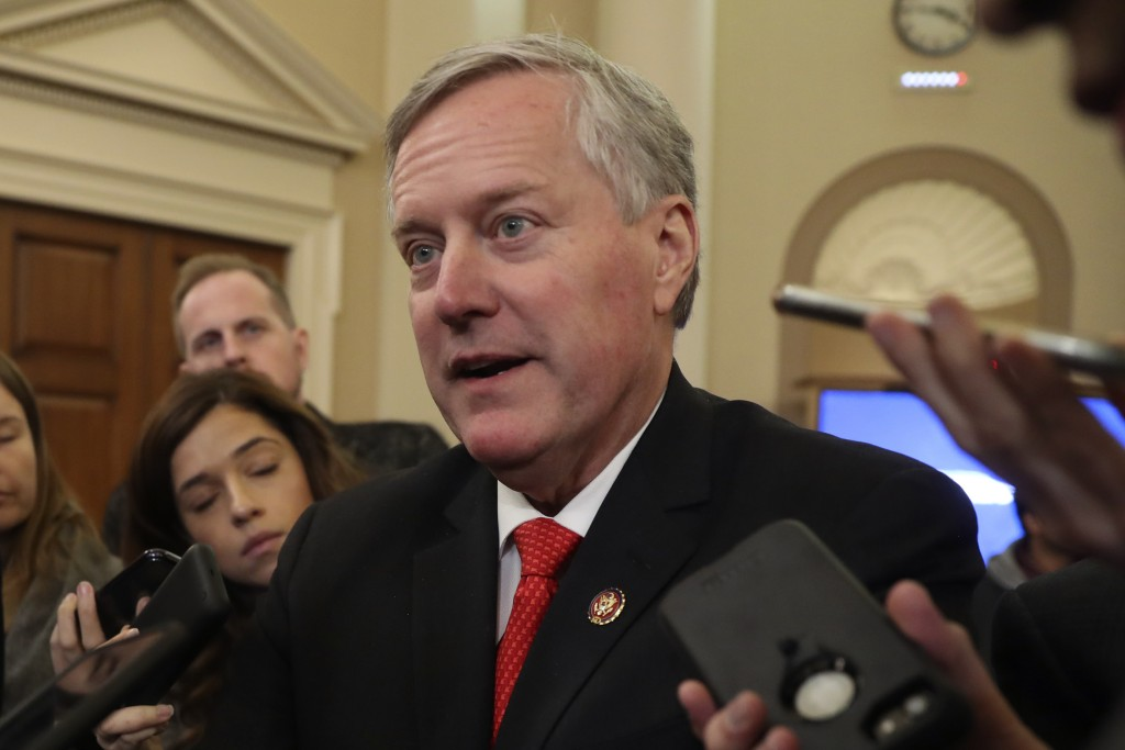 FILE - In this Nov. 13, 2019, file photo, Rep. Mark Meadows, R- N.C., speaks to reporters as the hearing with top U.S. diplomat in Ukraine William Tay...