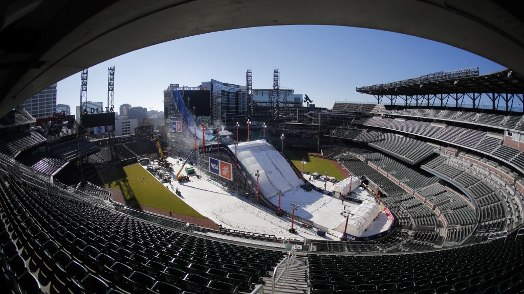 Crews work to construct and cover a giant ski slope with snow on the playing field at SunTrust Park Wednesday, Dec. 18, 2019, in Atlanta. The baseball...