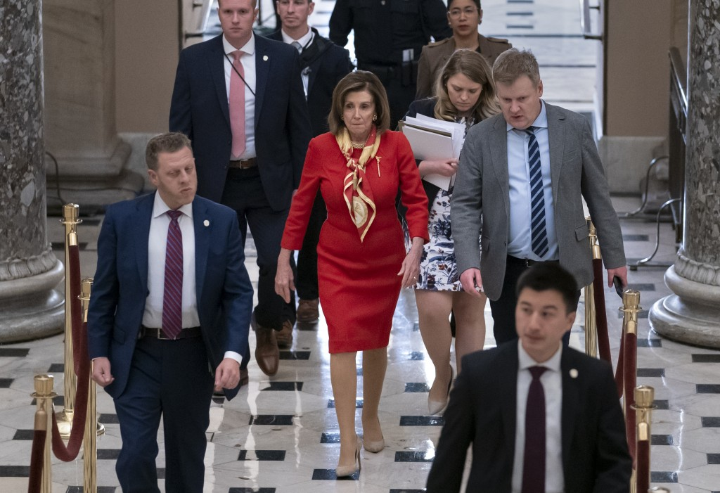 House Speaker Nancy Pelosi, D-Calif., walks from the chamber through Statuary Hall a day after the Democratic-controlled House of Representatives vote...