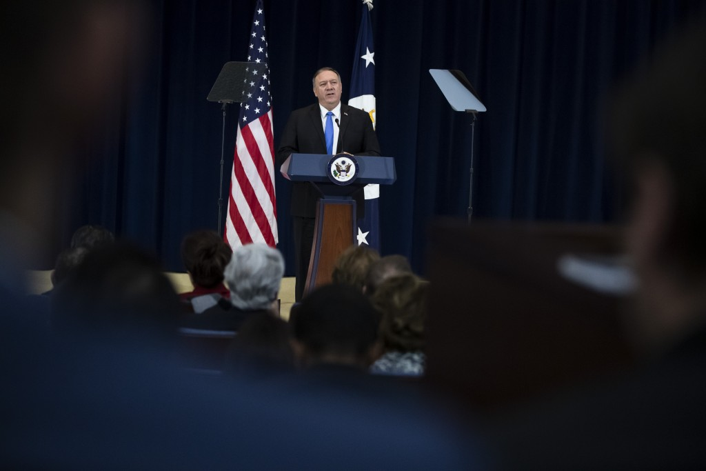 Secretary of State Mike Pompeo delivers remarks on human rights in Iran at the State Department in Washington, Thursday, Dec. 19, 2019. (AP Photo/Matt...
