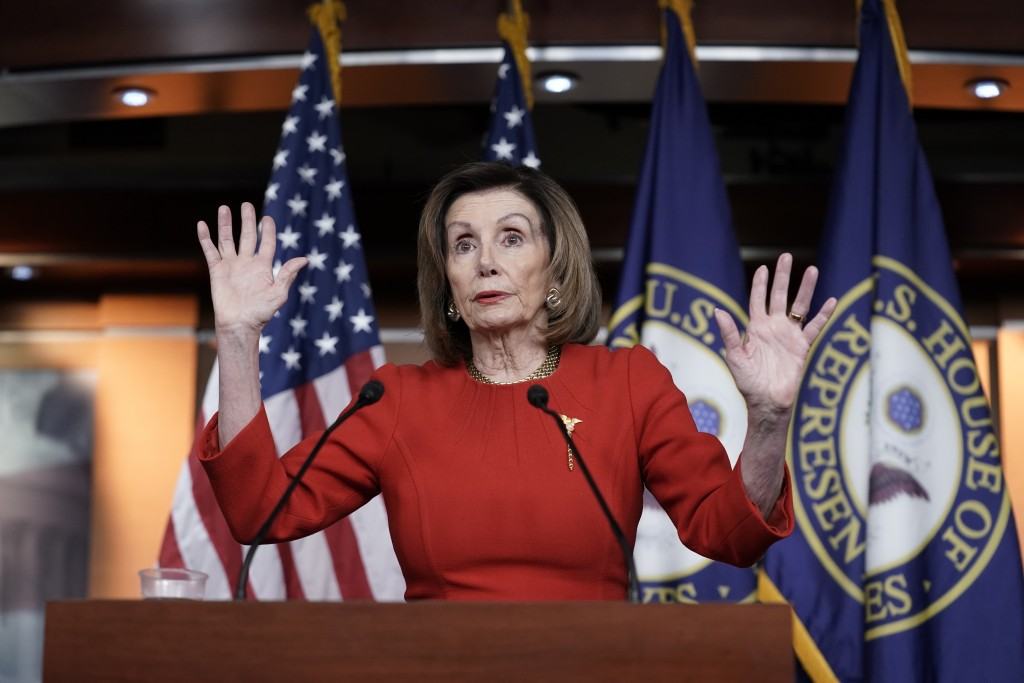 House Speaker Nancy Pelosi, D-Calif., meets with reporters at the Capitol in Washington, Thursday, Dec. 19, 2019, on the day after the House of Repres...