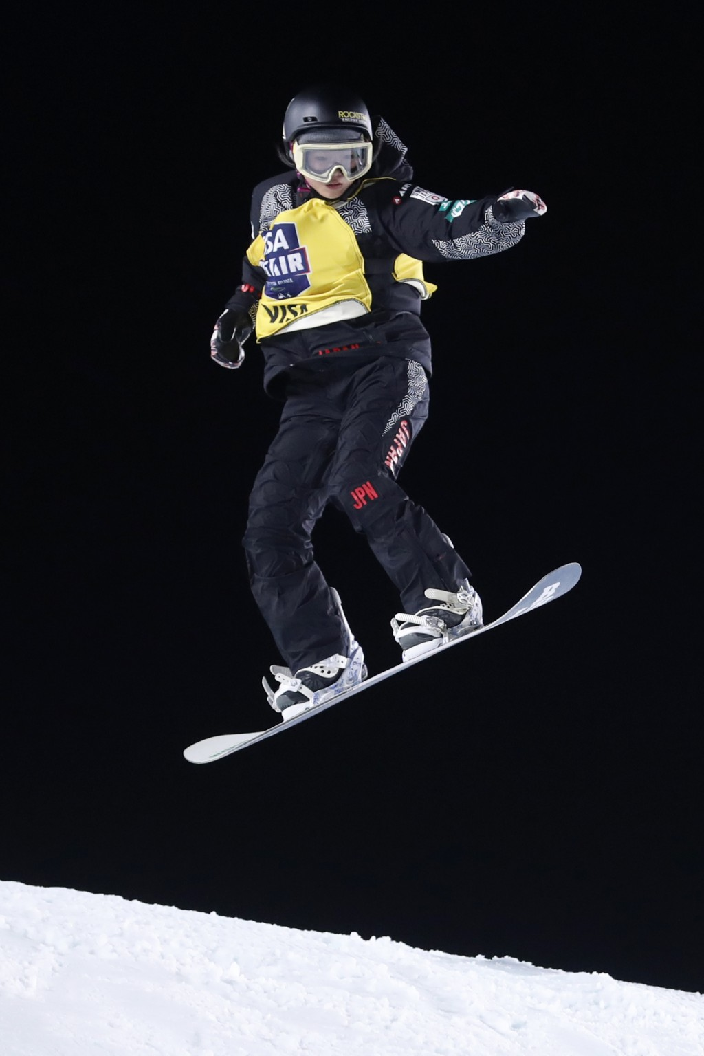 Reira Iwabuchi, of Japan, jumps during the finals of the Big Atlanta snowboard competition Friday, Dec. 20, 2019, in Atlanta. Iwabuchi won the event. ...