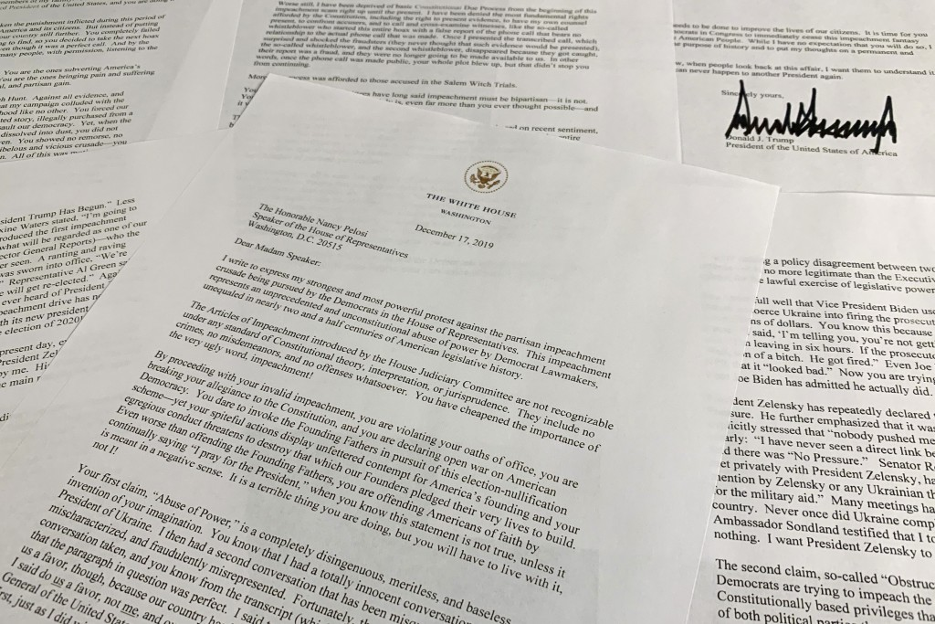 A letter from President Donald Trump to House Speaker Nancy Pelosi of Calif., is photographed Tuesday, Dec. 17, 2019, in Washington. (AP Photo/Jon Els...